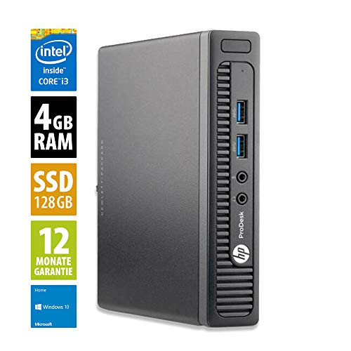 HP ProDesk 400 G1 | Mini PC | Computer | Intel Core i3-4160T @ 3,1 GHz | 4GB DDR3 RAM | 128GB SSD | Windows 10 Home (Generalüberholt)