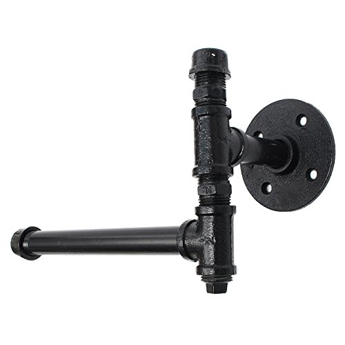 RanDal 220Mm Industrial Iron Pipe Tissue Holder Rustic Wall Mount Black Toilet Paper Roll Holder - Black Iron Pipe