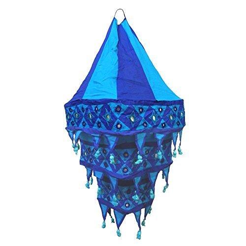Pantalla lámpara Farol cuadrada 70 cm azul-turquesa algodón patchwork India para colgar...