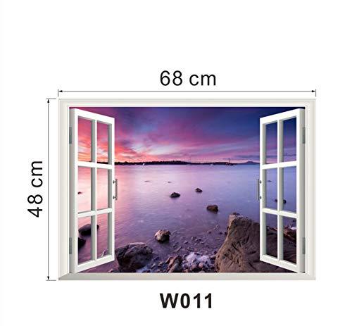 317b3c24f Beach Rock 3D Window View Removable Wall Sticker PVC Art Home Decal Decor  Wallpaper Poster 50