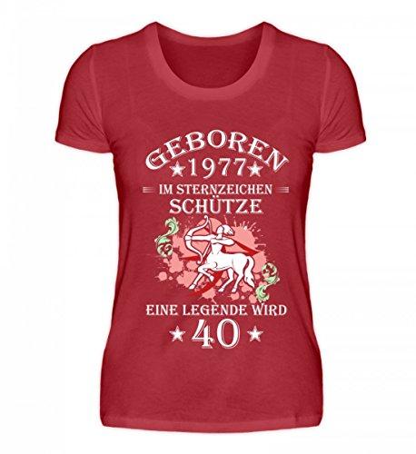 Shirtee Hochwertiges Damen Organic Shirt - Sternzeichen Schütze Wird 40 Dunkelrot