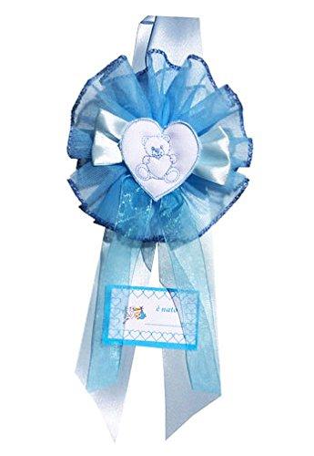 Fiocco nascita azzurro cuore orsetto con ricamo