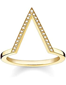 Thomas Sabo Damen-Ring Glam & Soul Vergoldeter Dreieck 925 Silber Diamant (0.1 ct) weiß - D_TR0020-924-14