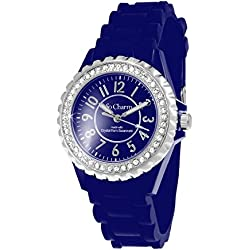 Silicone Blue So Charm Bracelet Ladies Watch Made with Crystal from Swarovski Elements