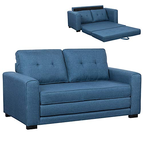 Bakaji divano letto 2 posti in tessuto di lino trapuntato imbottito con schiuma ad alta densità struttura in legno masselo piedini in gomma dura dimensione 152 x 73 x 8 cm (blu)