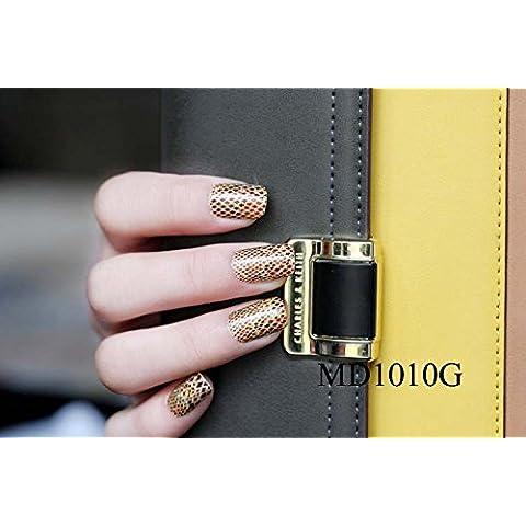 Arte de uñas: Calcomanías y autoadherentes Calcomanía Transferible con Agua MD1010G Pegatina Tatuaje para Uñas Nail Sticker -