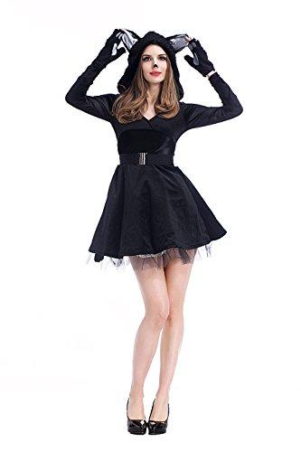 Sexy Wench Serving Kostüme (Damen Sexy Katzen Dame / Schwarz Bär Halloween Kostüm)