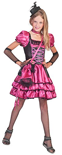 Can Can Girl Kostüm Stella Pink Gr. 128 - Wild West Kostüm für Mädchen bestehend aus Kleid und Handtasche