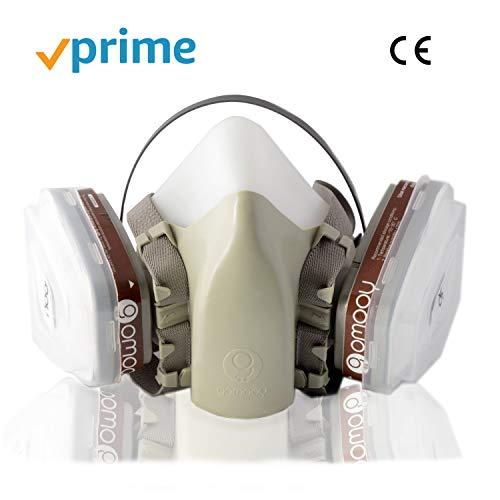 Maschera Antigas Doppio Filtro Ffp3 Protettiva | NUOVO DESIGN 4 FILTRI RICAMBIO INCLUSI | Respiratore Antipolvere Semimaschera Protezione Lavoro Prodotti Chimici Polveri Verniciatura Vapori Tossici |
