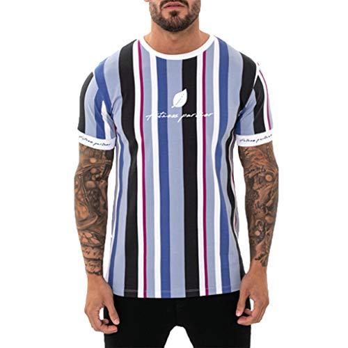 TWISFER-Herren T-shirt Kurzarm Sommer KurzäRmliges Fitness-Top Mit Vertikalen Streifen Und Blattmuster Fitness-Oberteil - Midweight Denim Shirt