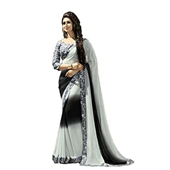 TAGLINE Women's Georgette Saree With Blouse Piece (Tag90003_Grey)