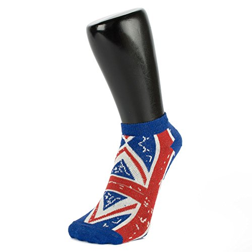 Stone Washed Union Jack Trainer Socken (3 PACK) (Größe: 4-6)