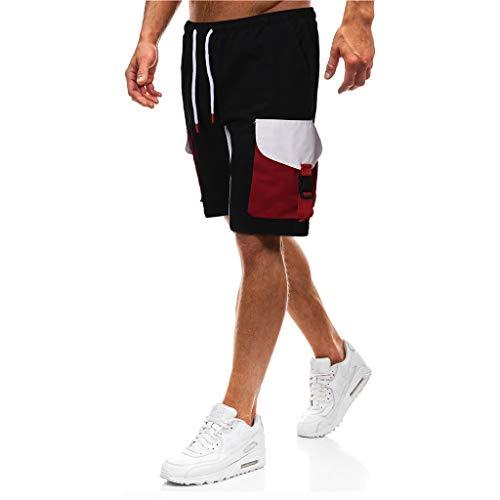 Cargo Shorts Herren Chino Kurze Hose Sommer Bermuda Sport Jogging Training Stretch Shorts Fitness Vintage Regular Qmber,5-Punkt-Shortboxen mit Mehreren Taschen/Schwarz,M -