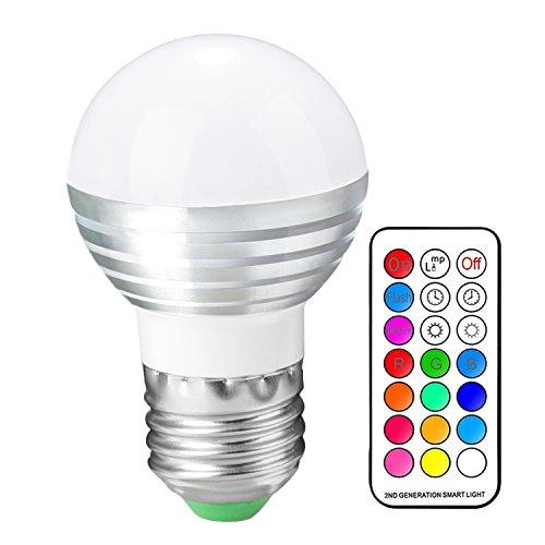 Kingnew 3W E27 RGB LED Birne Dimmbar mit Fernbedienung, 16 Farben ändern Licht Lampe Stimmung Beleuchtung für Home Party Dekoration, Hotels, Clubs, Einkaufszentren usw.