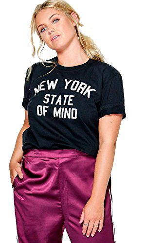 Noir Femmes Plus Sasha T-shirt À Slogan New York Noir