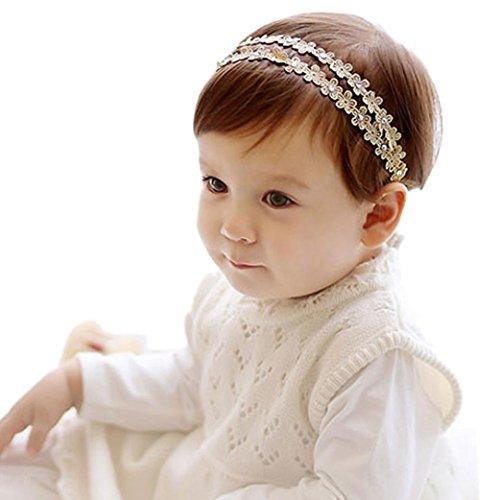 Sunnywill Strass Haarreif Haarband Baby Blumen Haarbänder Haarschmuck für Mädchen (Gold)