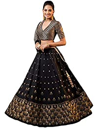 8fd2f2d1f0 Mansi Creation Women's Taffeta Silk & Embroidery Work Lengha Choli And  Blouse With Net Dupatta (