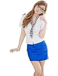 HXLDLM Weibliche Sexy Gitter Krawatte Stewardess Style Adult Versuchung Uniform Nachtwäsche Unterwäsche
