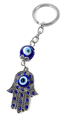 Nazareth Store Evil Eye Keychain Hamsa Fatima Hand Protection Charm Key Chain Good Luck Amulet