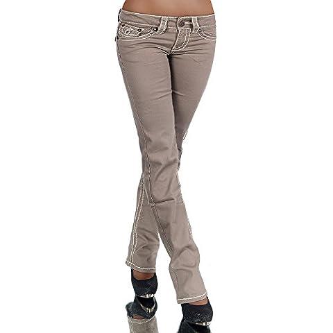 H922 Damen Bootcut Jeans Hose Damenjeans Hüftjeans Gerades Bein Dicke Naht Nähte, Farben:Coffee;Größen:42