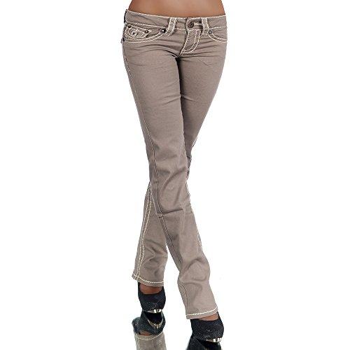 H922 Damen Bootcut Jeans Hose Damenjeans Hüftjeans Gerades Bein Dicke Naht Nähte, Farben:Coffee;Größen:38 (M)