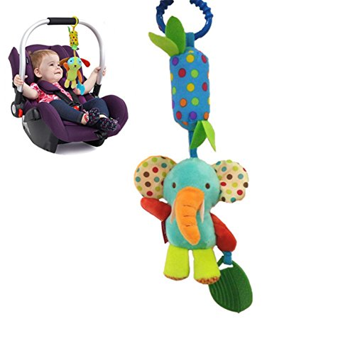 Juguete de Cochecito de Bebé, Colgante Lindo Divertido de Peluche Felpa Musical Suave Cama de Campana Sonajeros para Niños Bebes, Elefante