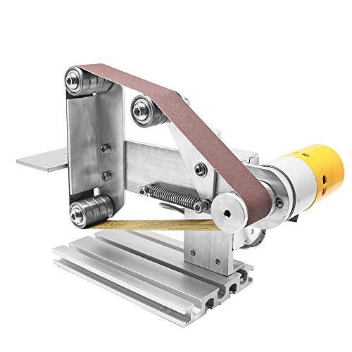 Huanyu Mini Bandschleifer DIY Bandschleifmaschine Elektrische Schleifmaschine Micro Desktop Poliermaschine mit 360W-24V-15A DC Motor/Schleifbänder (Drehzahlregelbar-30mm) - Dc-poliermaschine