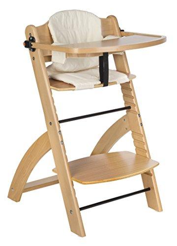 """BOMI® Kinderhochstuhl inkl. Tisch, 5-Punkt-Gurt, Sitzverkleinerer und Sicherheitsbügel – Mitwachsender Hochstuhl aus Holz – ab 6 Monate – Modell """"Lotta"""" Holzfarbe """"Natur"""" - 2"""