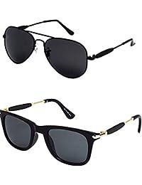 Younky Stylish Aviator Mercury Unisex Sunglasses, 55mm(M21_AvstkBB-BlackStick) - Pack of 2