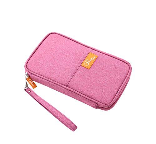 Reisepasshüllen Mappe Reise-Dokumente Tasche Reisepass Kreditkarten-Halter Damen und Herren mit Reißverschluss Geldbörse Etui Ticket Pink
