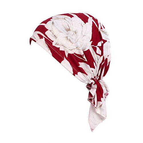 Locisne Damen bedruckte Kopftuch Schal Turban Headwear Chemo Beanie Schal Headwear für Krebs, Chemo, Haarausfall (FLOWERRED)