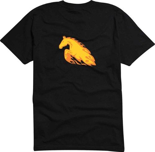 T-Shirt Herren Pferd schaut zurück Schwarz