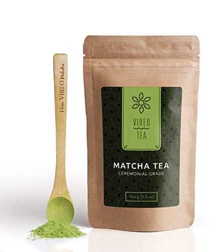 Te Verde Uji Matcha Japonés Te Premium Vireo 100g - Mejora el metabolismo, la concentración, la desintoxicación - Con regalo de cuchara de babú