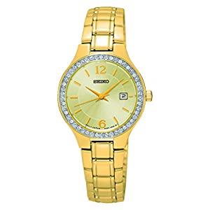 Seiko Ladies Champagne Face Gold Tone With Swarovski Bezel SUR782P1