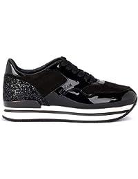Hogan Sneaker H222 Schwarz in Lack, Glitter und Veloursleder 3841ed9f59