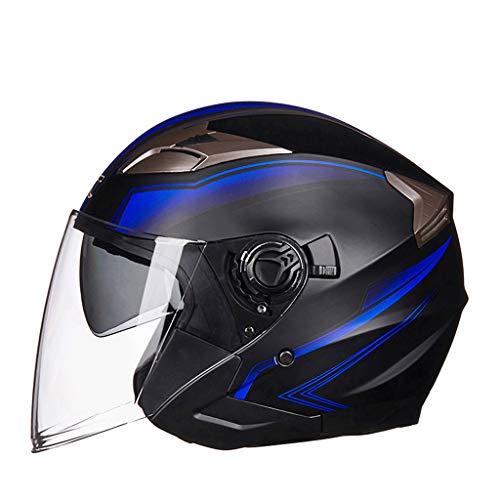 Casco da motociclista elettrico Maschio Femmina semi-coperto inverno caldo stagione batteria auto casco auto elettrica (colore : Blu-XL)