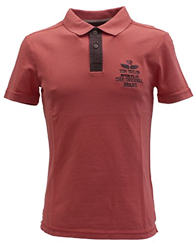 TOM TAILOR Herren Poloshirt Washed Polo With Chambray Mix coral (coral 4273)