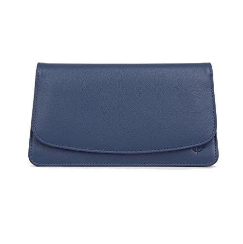 EASTLINE City Kosmetiktasche mit Spiegel Leder | Schminktasche in verschiedenen Farben | Taschenorganizer für die Handtasche (Blau) (Abend Handtasche Tasche Make-up)