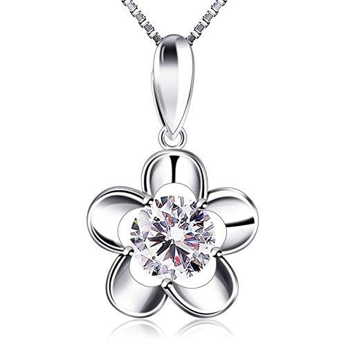 Blumen-halskette Silber (B.Catcher Damen Kette 925 Silber Halskette Blume Anhänger Zirkonia Schmuck 45CM Kettenlänge Geschenk für Damen)