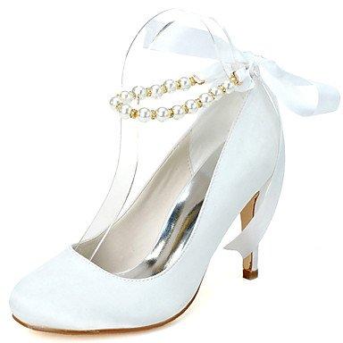 Wuyulunbi@ Scarpe donna raso Primavera Estate della pompa base scarpe matrimonio Stiletto Heel Round Toe imitazione perla lacci per la festa di nozze e la sera. Bianco