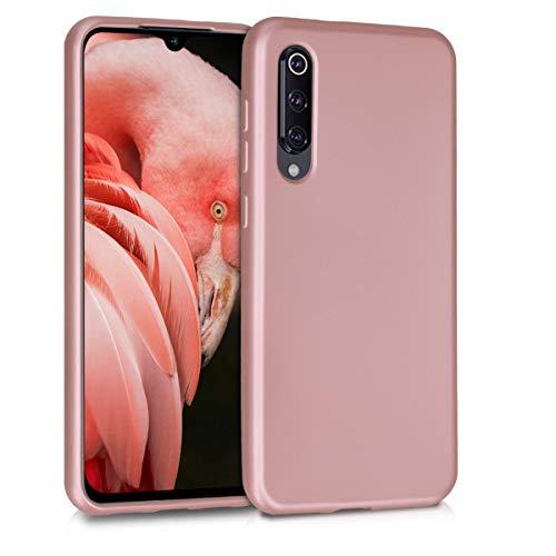 kwmobile Funda para Xiaomi Mi 9 SE - Carcasa para móvil en TPU Silicona - Protector Trasero en Oro Rosa Metalizado