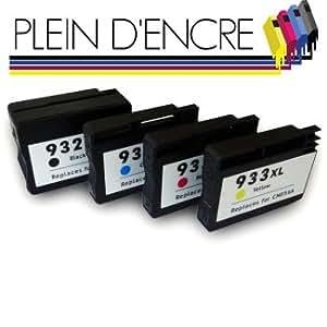 Pack 4 cartouches d'encre compatibles HP 932 XL Black et HP 933 XL Cyan Magenta Yellow / Grande capacité / pour imprimante HP OfficeJet 6100 6600 6700 - PLEIN D'ENCRE