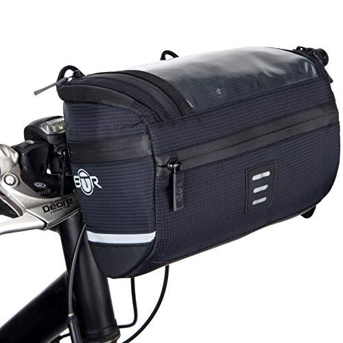 BTR Wasserabweisende Fahrrad Lenkertasche mit Navi/Handy Tasche, Fahrradtasche Lenker