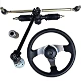 Keyzone 110cc Chinese Go Kart Quad Parts 30cm Steering Wheel Assembly Full Steel 32cm Gear Rack Pinion