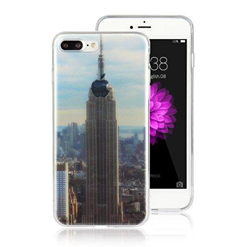 MOONCASE iPhone 7 Plus Coque, Ultra Mince Motif Etui Souple TPU Silicone Antichoc Housse Case pour iPhone 7 Plus (Tour Eiffel) Empire State Building