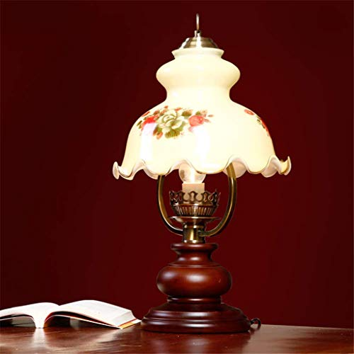 RONG LIGHT Nachttischlampe Vintage dekorative Lichter rustikale Schreibtischlampe dimmbar Massivholz Basis Glas Lampenschirm Wohnzimmer/Schlafzimmer,18 * 55 * 32cm