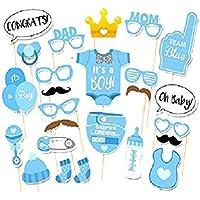 Vi.yo Photo Booth props Regalos Accesorios para decoración de fiesta de cumpleaños divertido DIY Kits de niña de incienso Set de 25pcs,chico versión