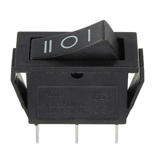 Rectangle Rocker Switch (Yongse KCD3-3PD Rechteck Rocker Switch 3P3T 125C off-on II-0-I-Zeichen Black)