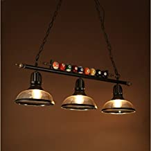 Jubaopen Billar de cristal retro araña de hierro habitación restaurante cafetería salón de billar lámparas, pantalla de vidrio tres, 40