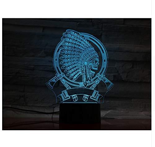 Kreatives Geschenk 3D Indischer Kopfschmuck Schädel Form Leuchte Vision Usb Lampara Führte Schreibtischlampe 7 Farben Ändern Schlaf ()
